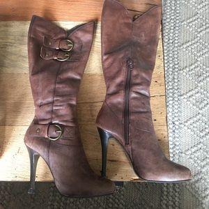 Bakers Brown High Heel Boots Side Zip (Size 6.5)